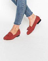 Asos Marine Suede Tassle Loafers Rust Red
