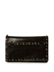 Valentino Rockstud Rolling Leather Clutch Black