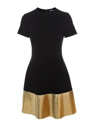 Markus Lupfer Black And Gold Pleated Leather Brana Dress