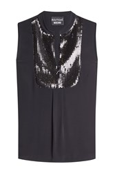 Boutique Moschino Sleeveless Shell With Sequins Black