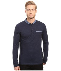 Boss Orange Patcherman 1 Long Sleeved Polo Blue Men's Long Sleeve Pullover