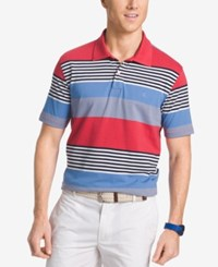 Izod Men's Autostripe Short Sleeve Polo Cardinal