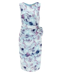 Nougat London Salma Print Silk Tie Belt Dress Ocean