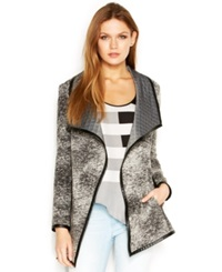Rachel Rachel Roy Printed Faux Leather Trim Cardigan