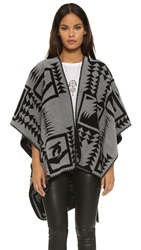 Velvet Wool Poncho Grey Black
