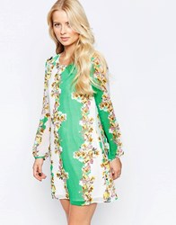 Yumi Long Sleeve Shift Dress Multi Green