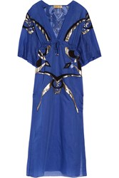 Emilio Pucci Embroidered Cotton And Silk Blend Kaftan Blue