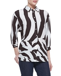 Escada 3 4 Sleeve Zebra Print Blouse