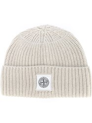 Stone Island Ribbed Beanie Hat Nude And Neutrals