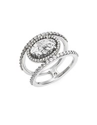 Nadri Crystal Pave Sterling Silver Stacked Ring