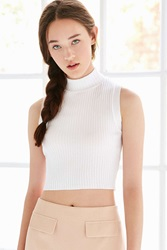 Silence And Noise Silence Noise Ribbed Mock Neck Tank Top White