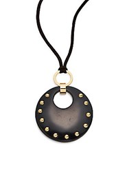 Rj Graziano Studded Suede Pendant Necklace Black
