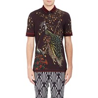 Dolce And Gabbana Peacock Print Polo Shirt Wine