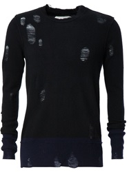 Distressed Knitted Jumper Black