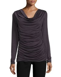 P. Luca Draped Long Sleeve Tunic Top Grey
