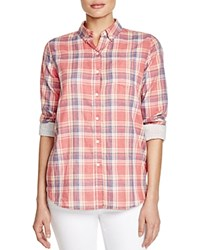 Birds Of Paradis Classic Plaid Shirt Coral Plaid