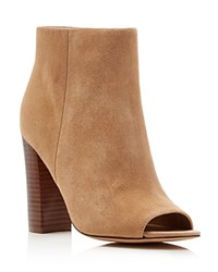 Sam Edelman Yarin Suede Open Toe High Heel Booties Oatmeal