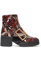 Burberry Prorsum Patchwork Python Ankle Boots Red
