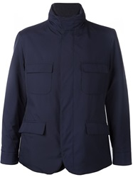 Loro Piana High Collar Layered Jacket Blue