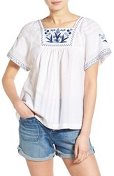 Women's Madewell Embroidered Short Sleeve Peasant Top