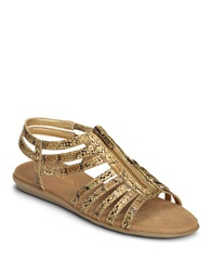 Aerosoles Clothesline Faux Leather Gladiator Sandals Gold Snake