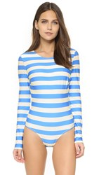Solid And Striped Margot Swimsuit Blue Cream Stripe