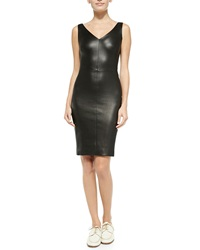 The Row Fitted V Neck Leather Dress Black