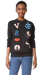 Victoria Beckham Patch Applique Sweatshirt Black Multi