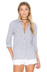 James Perse Stripe Pocket Button Up Top Blue
