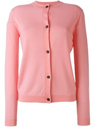 Jil Sander Navy Button Down Cardigan Pink And Purple