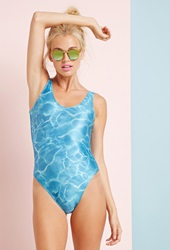 Forever 21 Clashist Pool Water One Piece Blue White