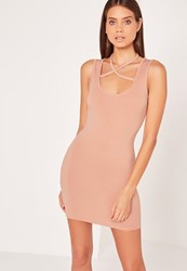 Missguided Halterneck Harness Bodycon Dress Nude Beige