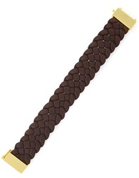 Cole Haan Braided Brown Leather Bracelet
