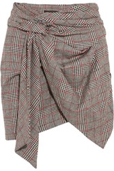 Isabel Marant Kim Wrap Effect Tweed Mini Skirt Gray