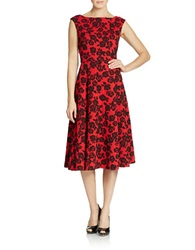 Betsey Johnson Rose Lace Fit And Flare Midi Dress Cherry Black