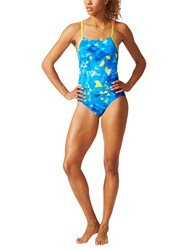 Adidas Allover Print Swimsuit Blue Yellow