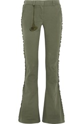 Figue Gregorie Fringed Cotton Blend Twill Flared Pants Army Green