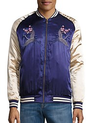 Standard Issue Nyc Crane Embroidered Satin Bomber Jacket Navy