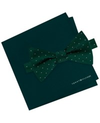 Tommy Hilfiger Men's Pin Dot Bow Tie And Solid Pocket Square Set Hunter