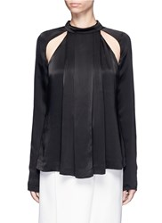 C Meo Collective Can't' Resist' Cutout Shoulder Pleated Satin Top Black