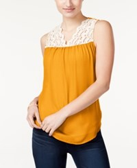 Self Esteem Belle Du Jour Juniors' Crochet Trim Sleeveless Blouse Blazing Mustard