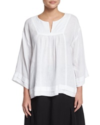 Eskandar Pleated Handkerchief Linen Top White