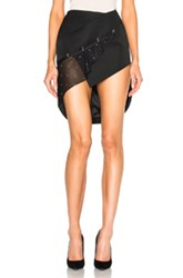 Anthony Vaccarello Asymmetric Mini Skirt With Rings In Black