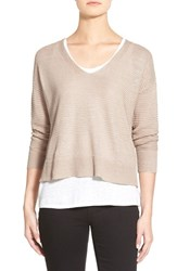 Women's Eileen Fisher Organic Linen V Neck Boxy Sweater