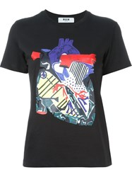 Msgm Heart Print T Shirt Black