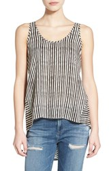 Junior Women's Sun And Shadow Print Tie Back High Low Tank Ivory V Tahir