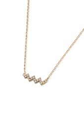 Forever 21 Rhinestoned Chevron Charm Necklace Gold Clear