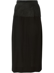 Yves Saint Laurent Vintage Panel Pencil Skirt Black