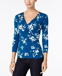 Charter Club Floral Print Faux Wrap Top Only At Macy's Cerulean Night Combo