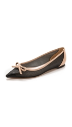 Casadei Pointed Perf Leather Flats Black Nude